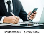 business man working at office... | Shutterstock . vector #569094352