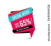 special offer sale with 65  off ... | Shutterstock .eps vector #569094928