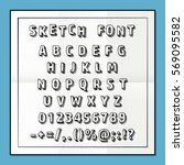 sketch font set on paper abc... | Shutterstock .eps vector #569095582