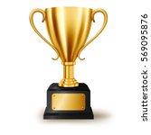 realistic golden trophy... | Shutterstock . vector #569095876