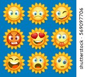 emoji sun and sad icon set.... | Shutterstock .eps vector #569097706