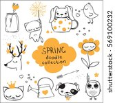 spring doodle collection.... | Shutterstock .eps vector #569100232