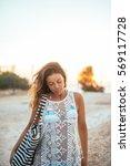 portrait of an attractive woman ... | Shutterstock . vector #569117728