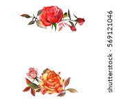 wildflower rose flower frame in ... | Shutterstock . vector #569121046
