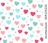 seamless hearts and dots... | Shutterstock .eps vector #569124232