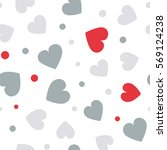 seamless hearts and dots... | Shutterstock .eps vector #569124238