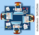 business working. work space.... | Shutterstock . vector #569125666