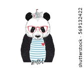 cute panda sailor  nautical... | Shutterstock .eps vector #569132422