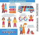 hippie infographics flat layout ... | Shutterstock .eps vector #569133502