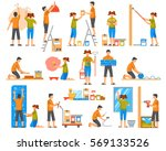 home renovation flat colored... | Shutterstock .eps vector #569133526