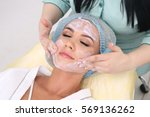 cleaning the skin with foam  a... | Shutterstock . vector #569136262