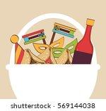 traditional gift basket for... | Shutterstock .eps vector #569144038