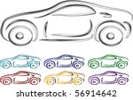 set of car design in 3d... | Shutterstock .eps vector #56914642