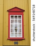 yellow wall  red window curtain ... | Shutterstock . vector #569148718