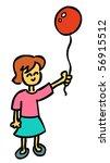 girl holding red balloon - stock vector