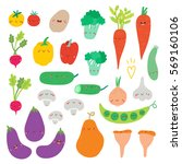 super cute set of vegetables... | Shutterstock .eps vector #569160106