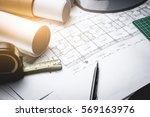 engineering diagram blueprint... | Shutterstock . vector #569163976