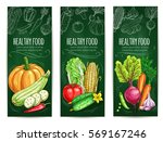vegetable and healthy food... | Shutterstock .eps vector #569167246