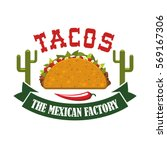 tacos restaurant icon with... | Shutterstock .eps vector #569167306
