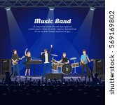 music band on stage and many... | Shutterstock .eps vector #569169802
