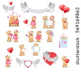 teddy bears collection on white.... | Shutterstock .eps vector #569169862