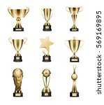 golden trophy cups collection... | Shutterstock .eps vector #569169895