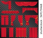 red curtains for theatre stage... | Shutterstock .eps vector #569170468