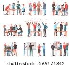 vector set of team of workers... | Shutterstock .eps vector #569171842