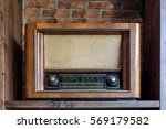 antique radio on the wooden... | Shutterstock . vector #569179582