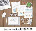 desktop with financial... | Shutterstock . vector #569183122