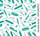 cute pattern of scissors for... | Shutterstock .eps vector #569186992
