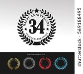 black laurel wreath anniversary.... | Shutterstock .eps vector #569188495