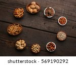 group of delicious dried fruits ... | Shutterstock . vector #569190292