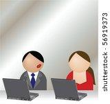 man and woman having an office... | Shutterstock .eps vector #56919373