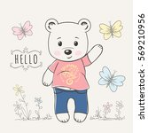 cute little bear with... | Shutterstock .eps vector #569210956