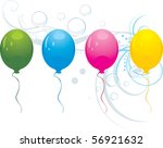 colorful balloons on the floral ... | Shutterstock .eps vector #56921632