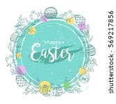 Easter Wreath With Hand Drawn...