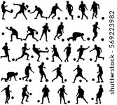 silhouettes of soccer players... | Shutterstock . vector #569223982