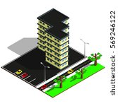 isometric city map. 3d building ... | Shutterstock .eps vector #569246122