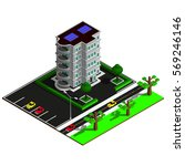 isometric city map. 3d building ... | Shutterstock .eps vector #569246146