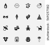 set of 16 editable infant icons....
