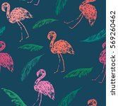 summer flamingo and palm leaves ... | Shutterstock .eps vector #569260462