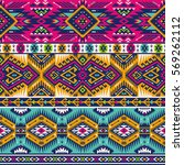 retro colors tribal vector... | Shutterstock .eps vector #569262112