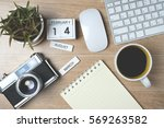 blank note book with old camera ...   Shutterstock . vector #569263582