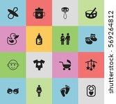 set of 16 editable baby icons....