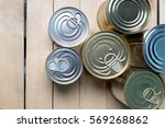 Tin Cans For Food On Wooden...