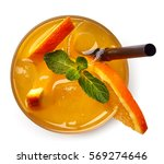 glass of orange soda drink... | Shutterstock . vector #569274646
