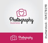 photography logo with heart icon | Shutterstock .eps vector #569278198