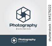 photography logo with hexagon... | Shutterstock .eps vector #569278222