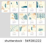 calendar 2017 with hand drawn... | Shutterstock .eps vector #569281222